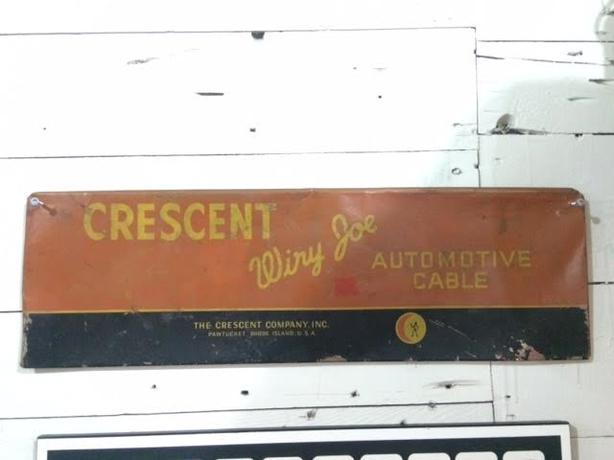 crescent wiry joe metal sign