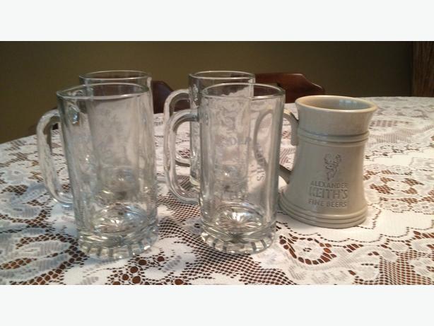 Keith's Beer Mugs (4 glass mugs plus 1 bonus ceramic beer stein)