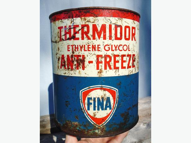 Vintage 1960's FINA Thermidor Anti-Freeze Imperial Gallon Can