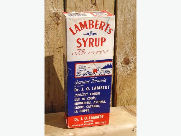 RARE Vintage LAMBERT'S SYRUP Bottle - NOS & FULL Bottle in Box!!