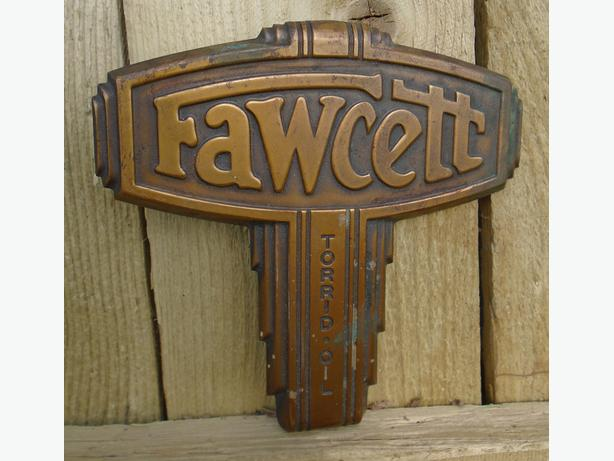 Rare 1940's Fawcett Torrid Oil Stoves Metal Emblem Sign