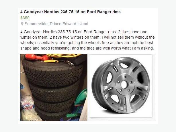 235 75 15 Snow tires on Ranger rims