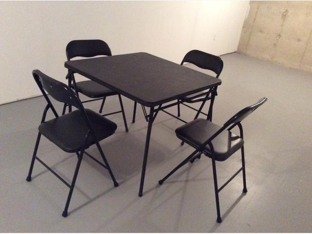 CARD TABLE & 4 MATCHING CHAIRS