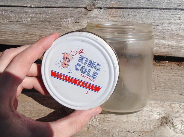 "Vintage 1960's Barbour's ""A King Cole Product"" Peanut Butter Jar"
