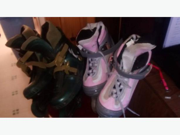 2 PAIRS OF SIZE 4 INLINE ROLLER BLADES .MAKE ME AN OFFER,