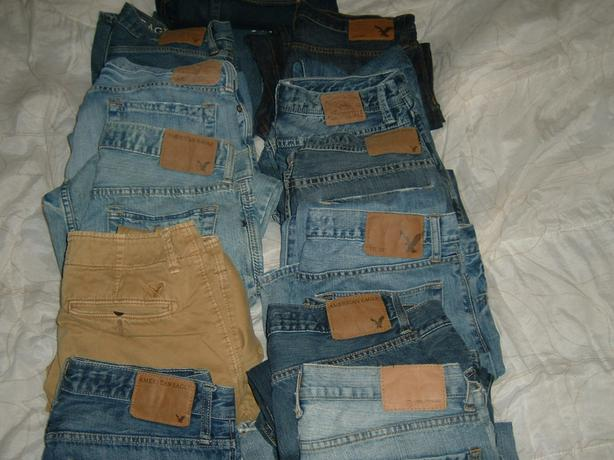 american eagle clothes  just denims and foot ware left and shorts all mens