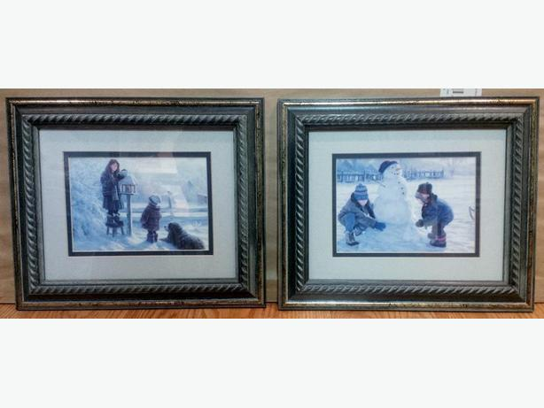 Winter Scene Set of 2 small framed prints