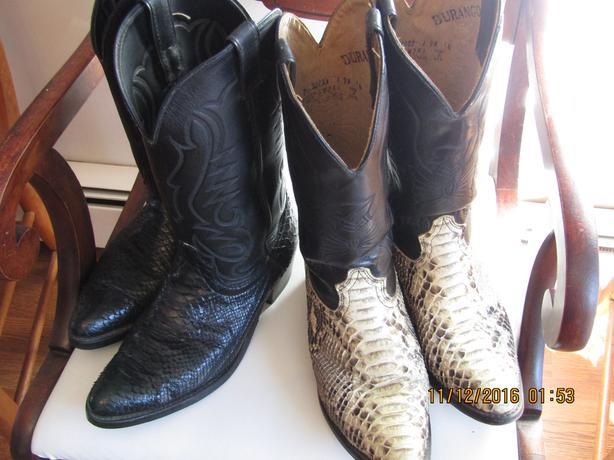 2 pair Men's Authentic Python Cowboy boots $150 each or $250 for both.