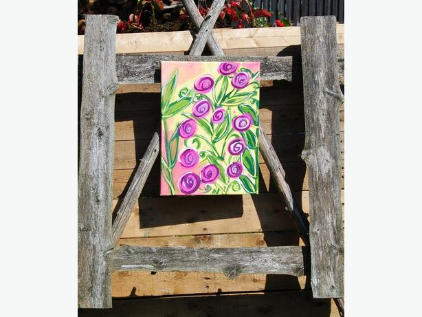 flowers painting on canvas acrylic painting original art by valv