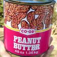 Vintage 1975's CO-OP PEANUT BUTTER Tin w/ Peanut Graphics