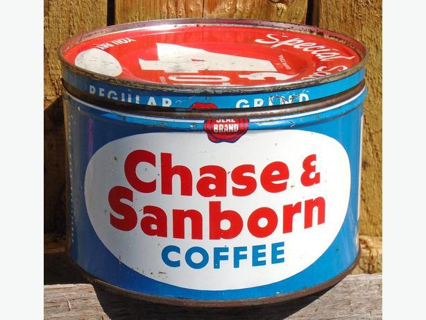 VINTAGE 1945's CHASE & SANBORN COFFEE (1 LB.) TIN