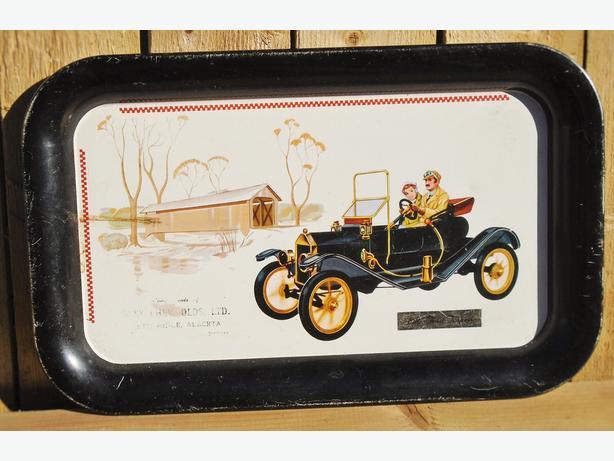 VINTAGE 1910 FORD TORPEDO CAR TRAY GRAPHICS PROMO ITEM C.1960/70