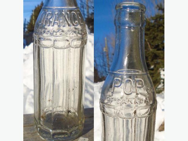 VINTAGE 1930's ORANGE POP CO (6.25 OZ.) HEAVY EMBOSSED SODA POP BOTTLE