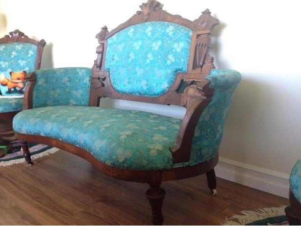 Beautiful antique turquoise 1898 loveseat and six chairs set