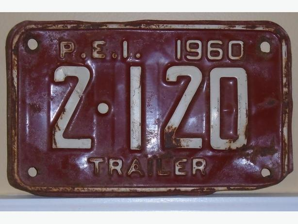 "SCARCE 1960's VINTAGE P.E.I. ""TRAILER"" LICENSE PLATE - ""2-120"""