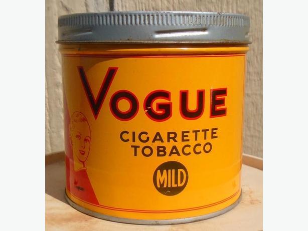 """VINTAGE 1960's VOGUE """"MILD"""" CIGARETTE TOBACCO (1/2 LB.) TIN"""