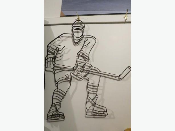 Hockey Player Silhouette, Hand Made of Metal