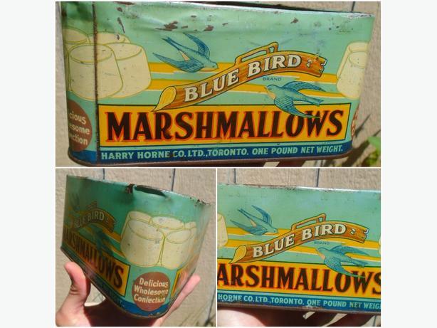 SCARCE 1920's VINTAGE BLUE BIRD MARSHMALLOWS (1 LB.) TIN