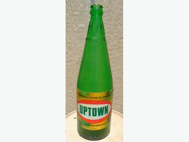 VINTAGE 1969-70's PURE SPRING / UPTOWN SODA POP 30 oz. BOTTLE
