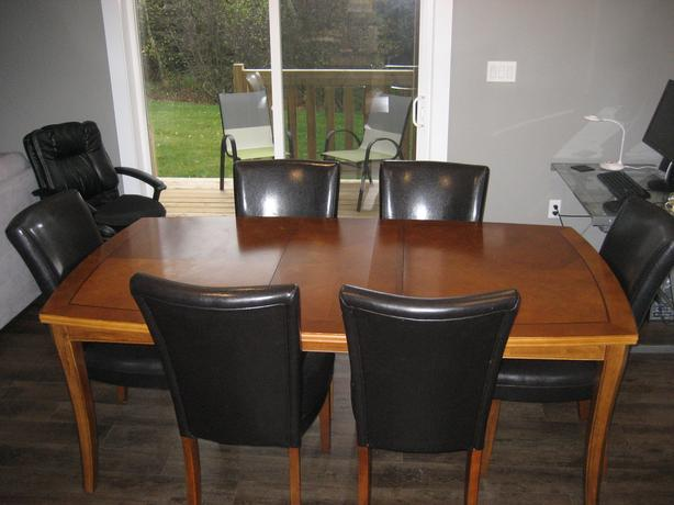 """77 """" of Solid Wood Dinning Set with 6 Leather Chairs"""